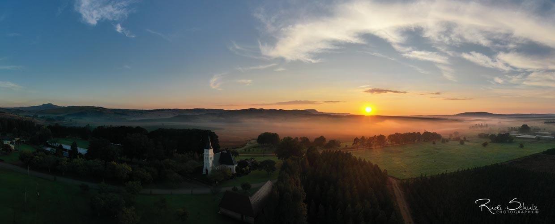 Lutherische Gemeinde Lüneburg Lutheran Congregation - Drone photo of Church at Sunrise
